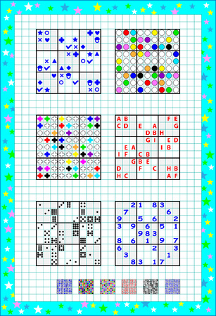 Logic Sudoku game. Set of different level puzzles. Educational page on square paper. Printable worksheet for children and adults. Developing skills for writing and counting. Vector image.