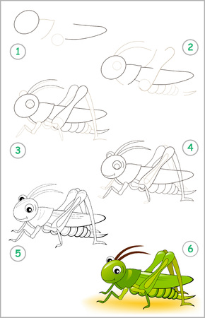 Educational page for kids shows how to learn step by step to draw a cute cricket. Back to school. Developing children skills for drawing and coloring. Vector cartoon image.