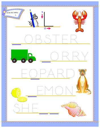 Tracing letter L for study English alphabet. Printable worksheet for kids. Logic puzzle game. Education page for kindergarten. Developing children skills for writing and reading. Vector cartoon image.