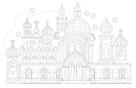 Fantasy drawing of medieval oriental palace. Print for travel company. Black and white page for coloring book. Worksheet for children and adults. Vector image.