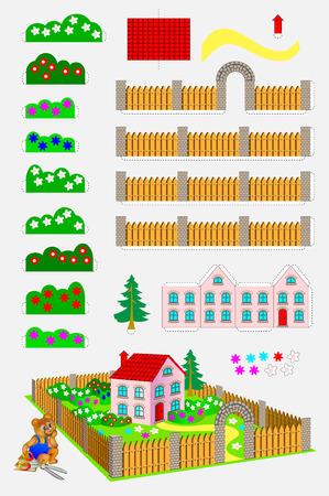 Afdrukbare sjabloon met oefening voor kinderen. Terug naar school. Met behulp van een schaar en lijm moet je een speelgoedhuis met een tuin maken. Vaardigheden ontwikkelen voor knippen en handwerk. Vector afbeelding.