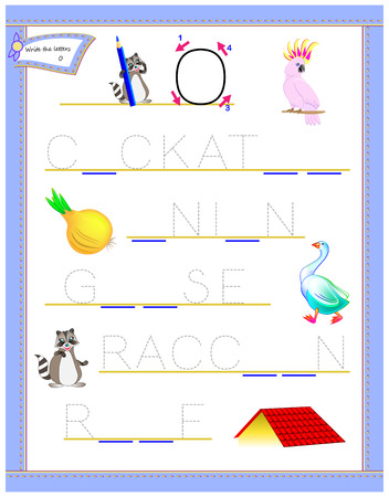 Tracing letter O for study English alphabet. Printable worksheet for kids. Logic puzzle game. Education page for kindergarten. Developing children skills for writing and reading. Vector cartoon image. Ilustração