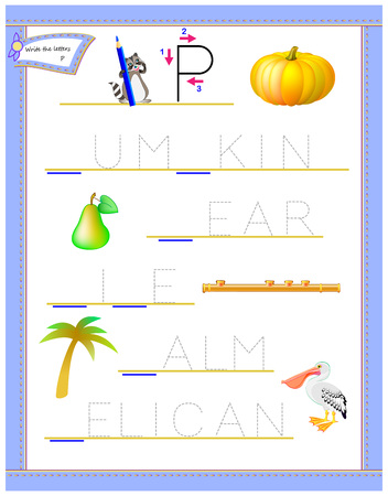 Tracing letter P for study English alphabet. Printable worksheet for kids. Logic puzzle game. Education page for kindergarten. Developing children skills for writing and reading. Vector cartoon image.