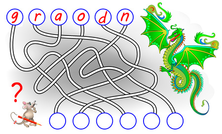 Logic puzzle game for study English. Find the correct places for letters, write them in relevant circles and read the word. Printable worksheet for textbook. Back to school. Vector cartoon image. Vettoriali
