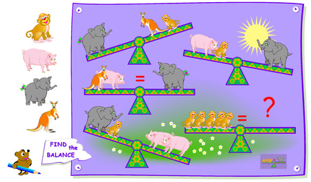 Logic puzzle game for children and adults. Find what animal need to put on swing so there is a balance? Printable page for brainteaser book. Vector cartoon image. Vettoriali