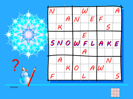 Logic Sudoku game. Need to complete the puzzle using the letters from word snowflake. Printable page for brainteaser book. Developing spatial thinking. Vector image.
