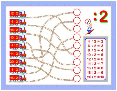 Ejercicios con división por 2. Escribe los números en los círculos correctos. Página educativa para el libro de matemáticas para bebés. Hoja de trabajo imprimible para libros de texto para niños. De vuelta a la escuela. Imagen de dibujos animados de vector. Ilustración de vector