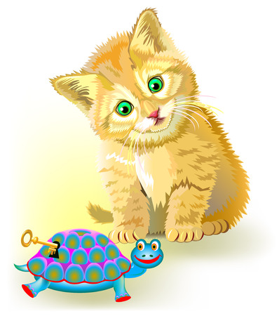 Illustration of curious little kitten looking at clockwork toy turtle, vector cartoon image.