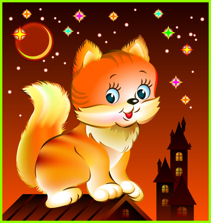 Illustration of little kitten sitting on roof, vector cartoon image.  イラスト・ベクター素材