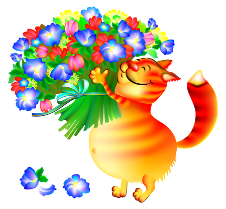 Illustration of ginger cat with bouquet of flowers, vector cartoon image.
