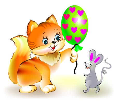 Cat presents mouse a balloon, vector cartoon image. Illustration