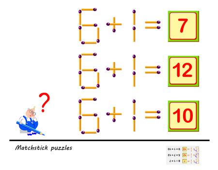 Juego de rompecabezas de lógica. En cada tarea debes mover 1 fósforo para que las ecuaciones sean correctas. Página imprimible para libro de rompecabezas. Desarrollo de las habilidades de pensamiento espacial de los niños. Imagen vectorial. Ilustración de vector