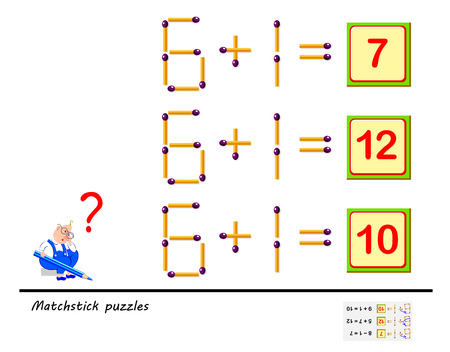 Logic puzzle game. In each task you must move 1 matchstick to make the equations correct. Printable page for brainteaser book. Development of children spatial thinking skills. Vector image. Banque d'images - 116441130