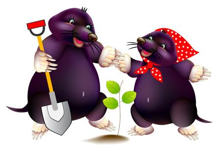 Fantasieillustration von zwei süßen kleinen Maulwürfen, die im Frühlingsgarten arbeiten. Drucken Sie für Kinderschullehrbuch. Vektor-Cartoon-Bild.