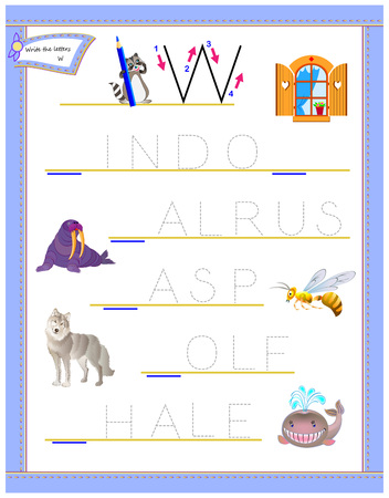 Tracing letter W for study English alphabet. Printable worksheet for kids. Logic puzzle game. Education page for kindergarten. Developing children skills for writing and reading. Vector cartoon image.