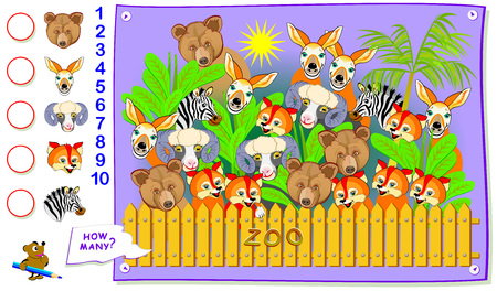 Printable educational page for kids. How many animals can you find in the zoo? Count the quantity and write the numbers in circles. Logic puzzle. Worksheet for baby textbook. Vector cartoon image. Ilustração