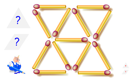 Logic puzzle game. How many triangles and rhombuses can you find in matchstick pattern? Count the quantity. Printable page for brain teaser book. Development spatial thinking skills. Vector image. Illustration