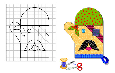 Printable template with pattern of kitchen mitten. Portrait of funny pirate. Using scissors, thread and sewing needle make him from pieces of cloth. Developing skills for needlework and handwork.