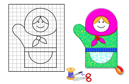 Printable template with pattern of kitchen mitten. Portrait of cute granny. Using scissors, thread and sewing needle make him from pieces of cloth. Developing skills for needlework and handwork.