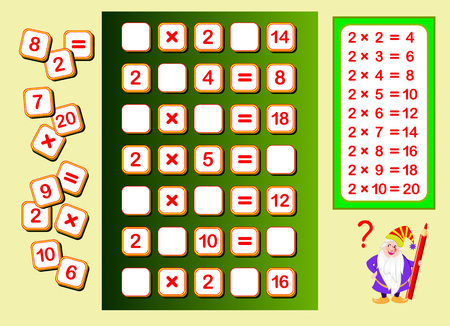 Multiplication table by 2 for kids. Find places for falling numbers and write them. Educational page for math book. Logic puzzle game. Printable worksheet for children textbook. Back to school.