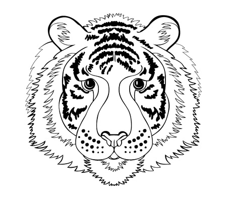 Stylized tiger head. Black and white page for coloring book. Pattern for modern print, embroidery, Henna, Mehndi, tattoo and decoration. Hand-drawn vector image on computer by graphic tablet.