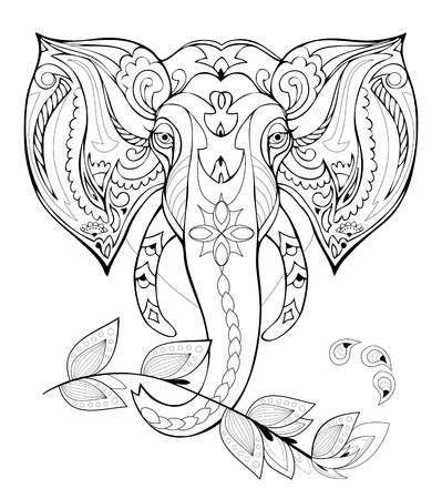 Stylized elephant head. Black and white page for coloring book. Pattern for modern print, embroidery, Henna, Mehndi, tattoo and decoration. Hand-drawn vector image on computer by graphic tablet.