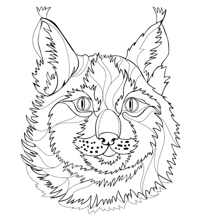 Stylized lynx head. Black and white page for coloring book. Pattern for modern print, embroidery, Henna, Mehndi, tattoo and decoration. Hand-drawn vector image on computer by graphic tablet. Ilustracja
