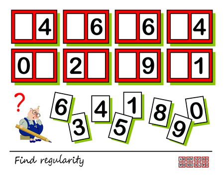 Logic puzzle game for children and adults. Need to find regularity and places for all numbers falling out of table. Printable page for brain teaser book. Developing spatial thinking. Vector image. Vettoriali