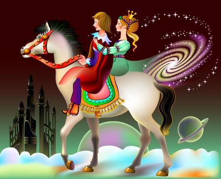 Ilustración del príncipe y la princesa montados a caballo en un fantástico entorno futurista. Cubierta de libro para niños de cuento de hadas. Postal para saludos de boda. Impresión moderna. Imagen de dibujos animados de vector.