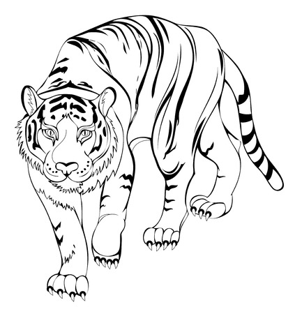 Stylized tiger. Black and white page for coloring book. Pattern for modern print, embroidery, Henna, Mehndi, tattoo and decoration. Hand-drawn vector image on computer by graphic tablet.
