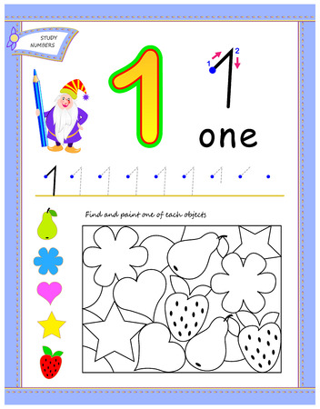 Educational page for kids with number 1. Find and paint one of each objects. Printable worksheet for children textbook. Developing skills for counting and writing. Back to school. Vector cartoon image. Vector Illustration