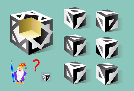 Logic puzzle game for children and adults. Find the correct detail which fell out of the cube. Printable page for brainteaser book. Developing spatial thinking. Vector cartoon image.