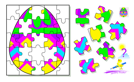 Logic puzzle game. Find and draw missing pieces that corresponds to Easter egg. Printable page for brainteaser book. Developing spatial thinking. Vector  cartoon image.
