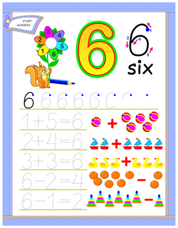 Educational page for kids with number 6. Solve mathematical examples. Printable worksheet for children textbook. Developing counting and writing skills. Vector cartoon image.