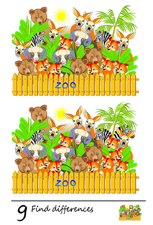 Logic puzzle game for children and adults. Need to find 9 differences. Printable page for baby book. Developing skills for counting. Vector cartoon image. Illustration