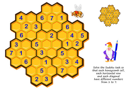 Logiczna gra logiczna dla dzieci i dorosłych. Rozwiąż zadanie Sudoku tak, aby każda komórka o strukturze plastra miodu, każdy poziomy rząd i każda przekątna miały różne liczby od 1 do 7. Strona do druku do książki łamigłówki.