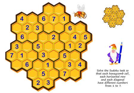 Logik-Puzzle-Spiel für Kinder und Erwachsene. Lösen Sie die Sudoku-Aufgabe so, dass jede Wabenzelle, jede horizontale Reihe und jede Diagonale unterschiedliche Zahlen von 1 bis 7 haben. Druckbare Seite für Denksportaufgaben.