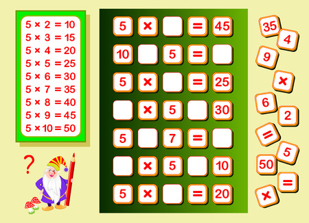 Multiplication table by 5 for kids. Find places for falling numbers and write them. Educational page for math book. Logic puzzle game. Printable worksheet for children textbook. Back to school.
