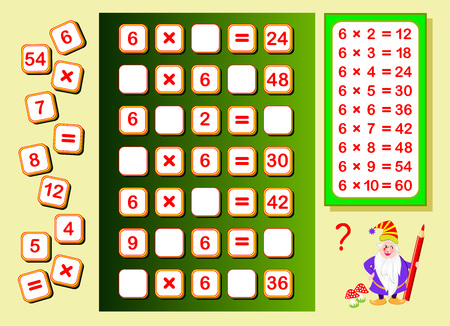 Multiplication table by 6 for kids. Find places for falling numbers and write them. Educational page for math book. Logic puzzle game. Printable worksheet for children textbook. Back to school.