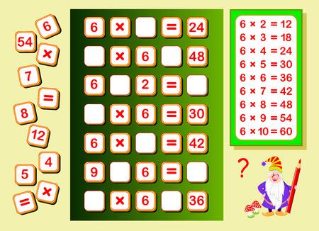 Tabla de multiplicar por 6 para niños. Encuentre lugares para los números que caen y escríbalos. Página educativa para libro de matemáticas. Juego de rompecabezas de lógica. Hoja de trabajo imprimible para libros de texto para niños. De vuelta a la escuela.