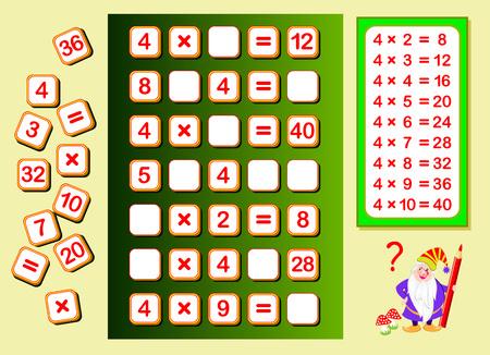 Tabla de multiplicar por 4 para niños. Encuentre lugares para los números que caen y escríbalos. Página educativa para libro de matemáticas. Juego de rompecabezas de lógica. Hoja de trabajo imprimible para libros de texto para niños. De vuelta a la escuela. Ilustración de vector