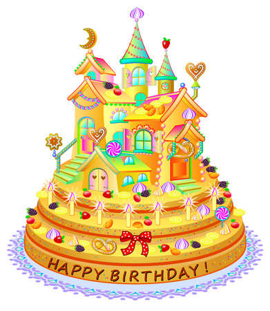 Fantasy funny cake with toy house. Happy birthday greetings. Festive meal with sweets, berries and biscuits. Vector cartoon image.