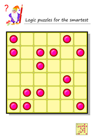 Logic puzzle game for the smartest. Move 4 round pieces so to get 1 horizontal, 1 vertical and 2 diagonal lines with 5 points in each. Printable page for brainteaser book. Vector image. Banque d'images - 119010992