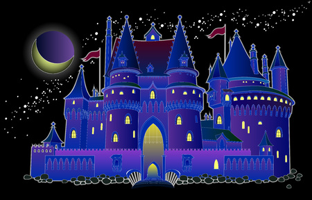 Illustration of fantasy fairyland medieval castle at night. Cover for baby fairy tale book. Modern print. Vector cartoon image.  イラスト・ベクター素材