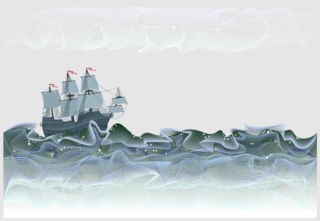 Ilustración de fantasía del antiguo galeón español de velero. Tormentosas olas del mar en forma de líneas abstractas serpenteantes. Cartel para empresa de turismo. Impresión moderna. Imagen de dibujos animados de vector.