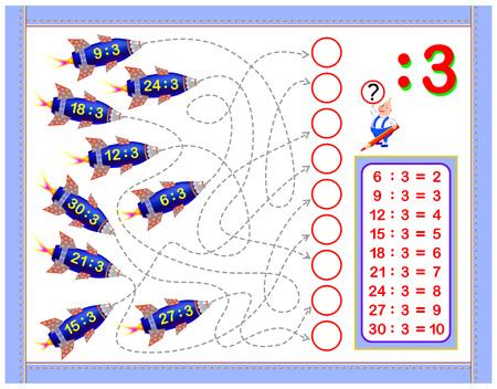 Esercizi per bambini con divisione per 3. Scrivi i numeri nei cerchi corretti. Pagina educativa per il libro per bambini di matematica. Foglio di lavoro stampabile per libro di testo per bambini. Di nuovo a scuola. Immagine del fumetto di vettore. Vettoriali