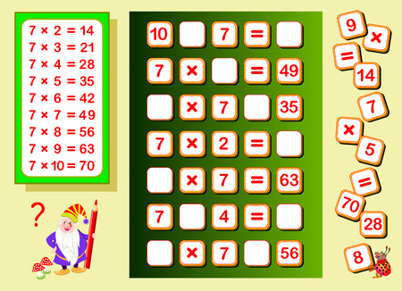Multiplication table by 7 for kids. Find places for falling numbers and write them. Educational page for math book. Logic puzzle game. Printable worksheet for children textbook. Back to school.