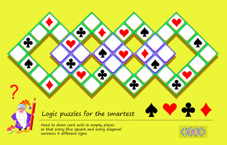 Logic puzzle game for smartest. Need to draw card suits in empty places so that every square and diagonal contains 4 different signs. Printable page for brainteaser book. Developing spatial thinking. Vetores