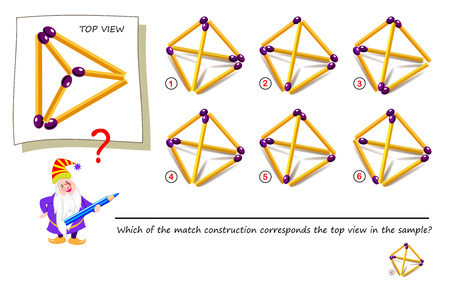 Logic puzzle game with matchstick for children and adults. Which of the match construction corresponds the top view in the sample? Printable page for brainteaser book. Developing spatial thinking.