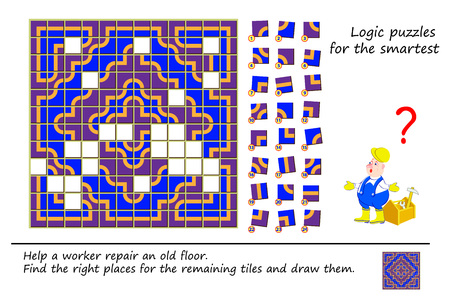 Logic puzzle game for smartest. Help a worker repair an old floor. Find the right places for the remaining tiles and draw them. Printable page for brainteaser book. Developing spatial thinking. Banque d'images - 119011130